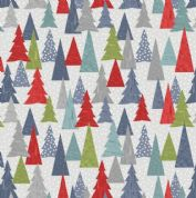 Lewis & Irene - Hygge Christmas - 5987 - Pine Trees in Green, Blue, Red & Grey C30.2 - Cotton Fabric